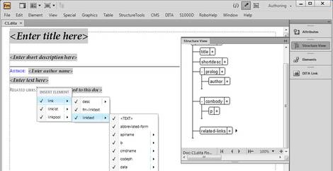 FrameMaker 11 showing a DITA document in the new Author View (medical translation)